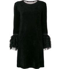 antonino valenti ruffled cuff dress - black