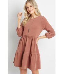 maurices womens french terry babydoll sweatshirt dress brown