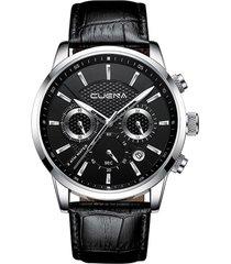 reloj hombre cronografo pulso cuero cuarzo cuena 6805 negro plateado