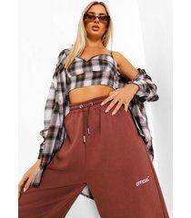 bruine geruite bralette en oversized blouse set