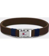 tommy hilfiger men's dark brown leather bracelet dark brown -