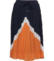 katara plisse skirt knälång kjol orange kaffe