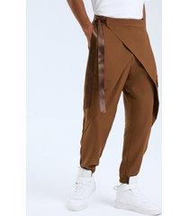 pantalones casuales de cintura alta con diseño anudado de moda para hombre
