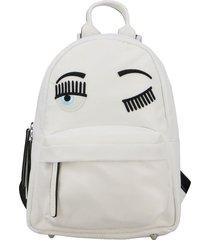 chiara ferragni backpack chiara ferragni canvas backpack with flirting embroidery