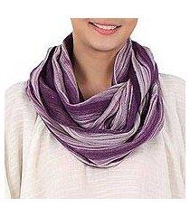 cotton infinity scarf, 'purple skies' (thailand)