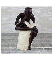 wood sculpture, 'thoughtful reader' (ghana)