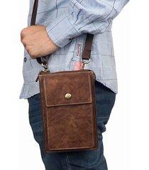 vintage casual double zipper 6 pollici telefono borsa crossbody borsa vita borsa per uomo