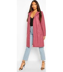 maxi wool look coat, mauve