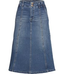 dhvitus denim skirt knälång kjol blå denim hunter