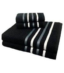 jogo de toalha 4 peças kit de toalhas 2 banho 2 rosto jogo de banho preta