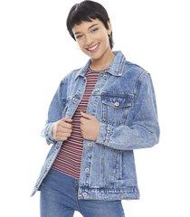 chaqueta denim oversize azul medio  corona