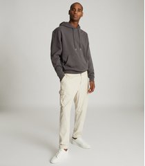 reiss field - oversized hoodie in washed black, mens, size xxl
