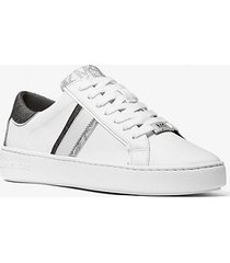 mk sneaker keaton in pelle con logo bicolore - combo bianco (bianco) - michael kors