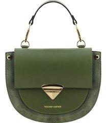 tuscany leather tl141882 talia - borsa a mano in pelle verde oliva