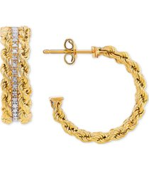 diamond rope hoop earrings (1/10 ct. t.w.) in 14k gold & white rhodium-plate