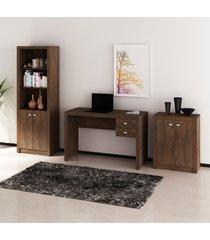 conjunto de escritório com mesa, armário alto e baixo 02 rústico dallas - tricae