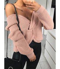 rosa suéter de manga larga con cuello de pico y trenzado trenzado