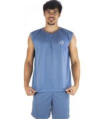 pijama mvb modas  curto adulto camiseta azul claro - azul - masculino - poliã©ster - dafiti