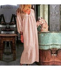 zanzea para mujer de la manga de soplo del cuello de v de la playa vestido de algodón floja ocasional de kaftan vestidos maxi -rosado