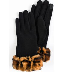 women's faux fur leopard cuff jersey touchscreen glove