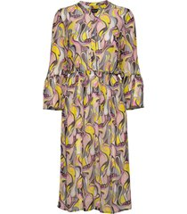 3388 - estelle dress/l jurk knielengte multi/patroon sand