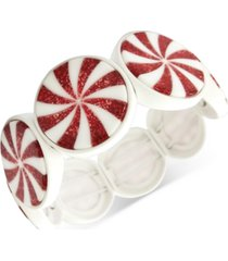 inc white-coated red peppermint stretch bracelet, created for macy's