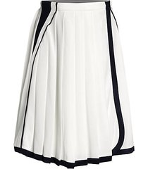 pleated contrast piping tennis skirt