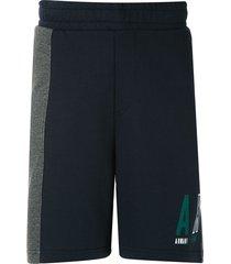 armani exchange colour block fleece bermuda shorts - blue
