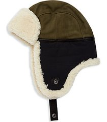 shearling & textile mixed media trapper hat