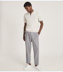 reiss albany - textured zip neck polo shirt in ecru, mens, size xxl
