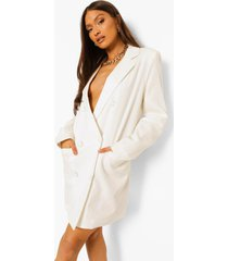 oversized linnen look blazer jurk, ivory