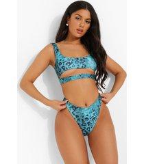 tropicana hoog uitgesneden bikini broekje met hoge taille, turquoise