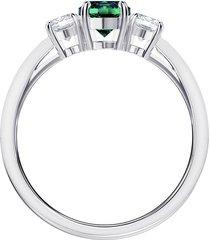 anillo attract trilogy round, verde, baño de rodio