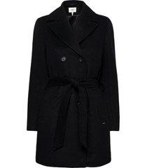 byabia coat - wollen jas lange jas zwart b.young