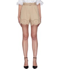 floral embroidery scallop hem belted cotton shorts