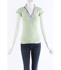brunello cucinelli cotton knit polo shirt green sz: xs