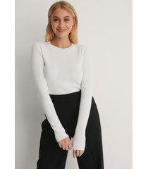 na-kd basic ribbstickad tröja - white