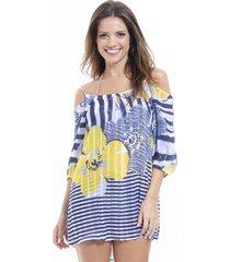 vestido meia manga 101 resort wear saãda ciganinha listrado floral - amarelo/azul/azul marinho/branco - feminino - dafiti