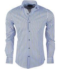 dom tower heren overhemd stretch gestreept blauw - wit