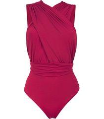 brigitte ruched talita swimsuit - red