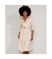 vestido chemise feminino midi estampado de poá com cinto manga 3/4 off white