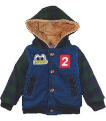 jaqueta casaco manabana infantil grossa com pelucia jeans verde - azul/verde - l㣠- dafiti