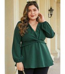yoins plus blusa de manga larga con cuello en v y giro verde oscuro