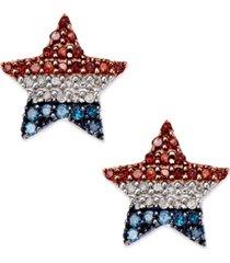 diamond flag star stud earrings in sterling silver (1/4 ct. t.w.)
