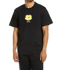 men's obey men's embroidered flower t-shirt, size small - black