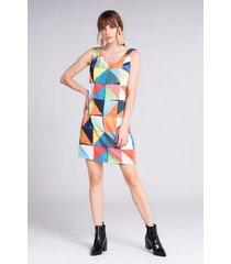 vestido corto estampado asimétrico sin mangas
