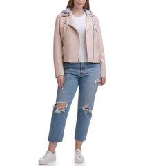levi's plus size trendy hooded faux leather moto jacket