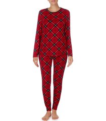 women's lauren ralph lauren plaid print pajamas, size large - red