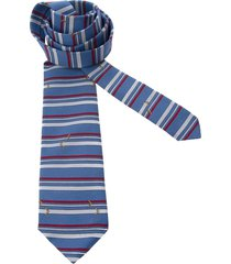 pierre cardin pre-owned horizontal striped tie - blue