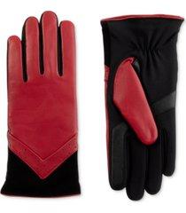 isotoner signature women's sleekheat leather smartouch gloves with fleece lining